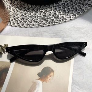 Accessories - Slim Retro Cat Eye Black Sunglasses